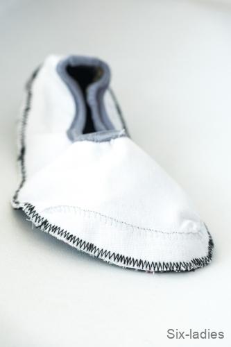 Cik-cak steh - hodně hustě nastavený na dětské botce