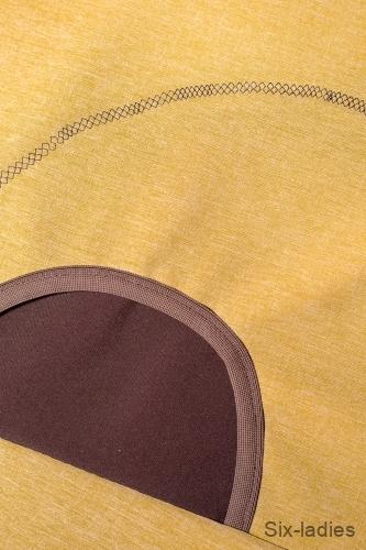 Ozdobný pružný steh - jedna kapsa se mi moc nepovedla